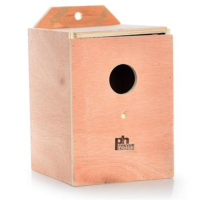 Prevue Presents Lovebird Nest Box Wood (Inside Mount). Solid Hardwood Nest Boxes with Indented Bottom Center to Prevent Egg Rolling. Top Opening for Easy Cleaning. 7&quot; X 7 1/8&quot; X 8 &quot;H [24563]