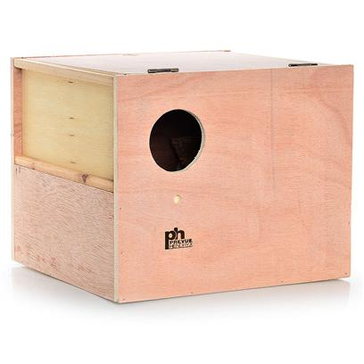 "Prevue Presents Cockatiel Nest Wood Box (Outside Mount). 12 ""L X 11 ""W X 9 7/8"" H, Outside Cockatiel Next Box with Indented Center Bottom. Solid Hardwood Offers Two Slide Up Side Panels for Easy Access and Cleaning. [24565]"