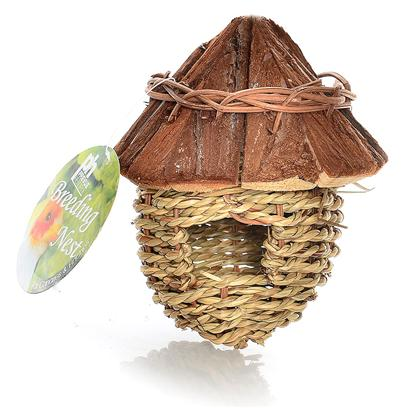 Prevue Presents Wood Roof Bird Nest/House Ph. Covered Nest for Small Birds. [24567]