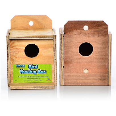 Ware Manufacturing Presents Ware Wood Nesting Box-Finch Reverse Nest Box Finch Regular. Fully Assembled and Ready to Use. The Perfect Place for Birds to Nest. Hinged Top, Regular. 5.5&quot;W X 5.125&quot;D X 5&quot;H Exterior Grade Plywood with Perch. [24575]