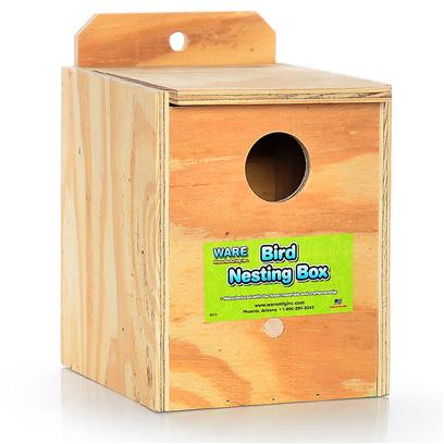 Ware Manufacturing Presents Ware Wood Nesting Box-Keet Reverse Nest Box Keet Regular. Fully Assembled and Ready to Use. The Perfect Place for Birds to Nest. Hinged Top, Regular. 7.5&quot;W X 6.25&quot;D X 7.75&quot;H Exterior Grade Plywood with Perch. [24577]