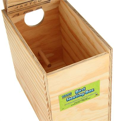 Ware Manufacturing Presents Ware Wood Nesting Box Lovebird Reverse Nest Regular. Fully Assembled and Ready to Use. The Perfect Place for Birds to Nest. Hinged Top, Regular. 10.25&quot;W X 6.25&quot;D X 9.25&quot;H Exterior Grade Plywood with Perch. [24579]