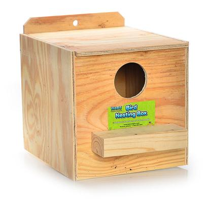"Ware Manufacturing Presents Ware Wood Nesting Box Cockatiel Reverse Nest Tiel. Fully Assembled and Ready to Use. The Perfect Place for Birds to Nest. Hinged Top, Regular. 11.25""W X 11.25""D X 10""H Exterior Grade Plywood with Perch. [24580]"