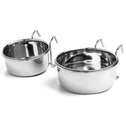 Ethical Presents Steel Coop Cup with Hanger 10oz 20oz. Perfect for Seed and Treats, Stainless Steel. Hook on Cups. Clean Spill Free Way to Feed Dogs or Birds. Easily Connects to Bird Cages, Dog Crates and Chain Link Fences. [24735]
