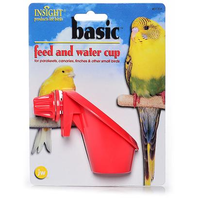 Jw Pet Company Presents Insight Basic Feed &amp; Water Cup. For Parakeets &amp; Similar Sized Birds Screws Onto Both Horizontal and Evrticle Barred Cages. Excellent for Travel Cages [24756]