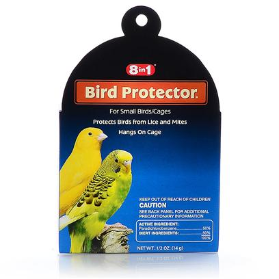 8 in 1 Presents Bird Protectors (6pc) Small-6 Pack. 8in1 Understands the Special Needs of Pet Birds. Our Premium Line of Bird Products Includes an Array of Essential Health Care Remedies, Supplements and Accessories for Birds' Unique Needs. Daily Multi-Vitamin Treats for Small Birds is a Daily Vitamin and Mineral Supplement in an Easy-to-Feed, Great Tasting Treat Form. Helps Ensure Optimum Nutrition and Overall Good Health. Bird Protectors for Small Birds Protects Cages from Lice and Mites. Deodorizes Cage as it Protects. [24808]