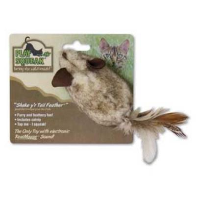 Our Pets Company Presents Ourpets Play-N-Squeak Shake Yr Tail Feather Toy. Feathers and Fur Arouse a Cat's Hunting Instinct. Your Cat will Take One Look at this Mouse and Nature will Take Over! An Ounce of Mouse Equals a Ton of Pounce! Features the Realmouse 'Squeak'. [25996]