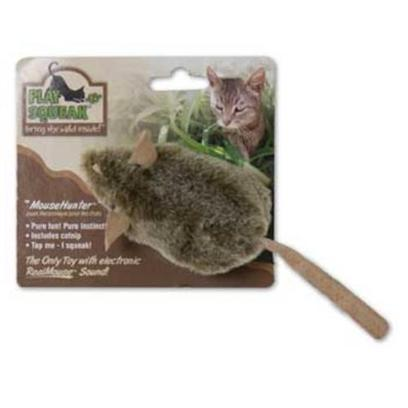 Our Pets Company Presents Ourpets Play-N-Squeak Mouse Hunter Toy. The Play-N-Squeak Mousehunter Features the Patented Realmouse 'Squeak' Satisfying your Cat's Preying Instinct Safely, and with no Mess! It will Allow your Cat the Opportunity to Stay Busy Hunting, Chasing, Stalking and Pouncing. Don't be Surprised if your Cat Brings you his &quot;Kill&quot; as a Gift! It's that Realistic! [26001]