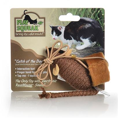 "Our Pets Company Presents Ourpets Play-N-Squeak Catch of the Day. Bring out the Predator in your Cat! Slip the Band on your Finger and Slowly Pull the Mouse Across the Floor to Put your Cat into ""Stalk and Pounce"" Predator Mode.The Mouse Includes the Realmouse Sound. [26007]"