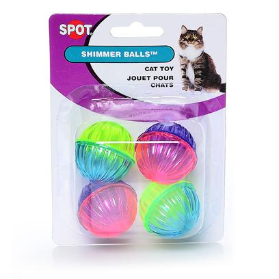 Ethical Presents Shimmer Ball with Rattle Beads 4pk Spot Cat. Plastic Pretty Pastel Colored Shimmer Balls, Great Interactive Toy. [26016]