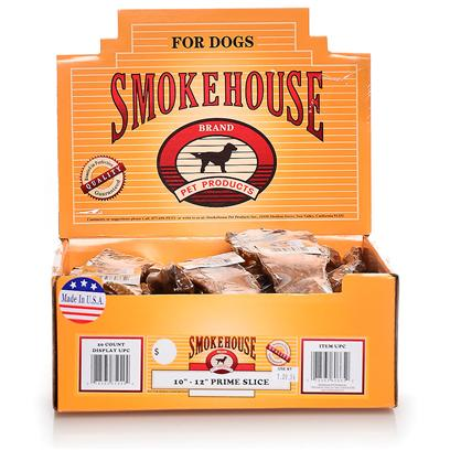 Smokehouse Presents Smokehouse 10-12' Prime Slice Shelf Display Box 20ct Small (Sm) 10' Sw Dsp Bx. Each Prime Slice is Shrink Wrapped and Upc Labeled Stylish Cardboard Display can Fit on Counter or Shelf or in Smokehouse Wire Rack #20000 100% Natural Smoked Beef Product Great Treat for your Dog that Provides Hours of Fun. Great for Keeping Teeth Clean and Healthy. Made in the Usa Supplemental Treat [26057]