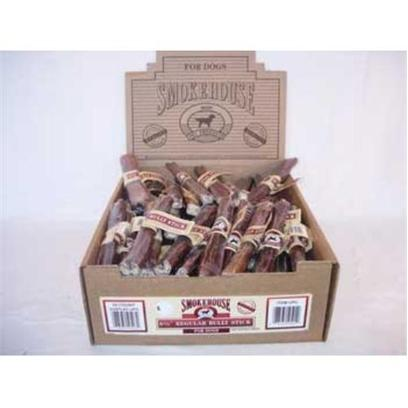 Smokehouse Presents Smokehouse 6.5' Bully Sticks Shelf Display Box 60ct Small (Sm) Stix Dsp Bx. Each Bully Stick is Shrink Wrapped and Upc Labeled Stylish Cardboard Display can Fit on Counter or Shelf or in Smokehouse Wire Rack #20000 100% Natural Smoked Beef Product Great Treat for your Dog that Provides Hours of Fun. Great for Keeping Teeth Clean and Healthy. Made in the Usa Supplemental Treat [26059]