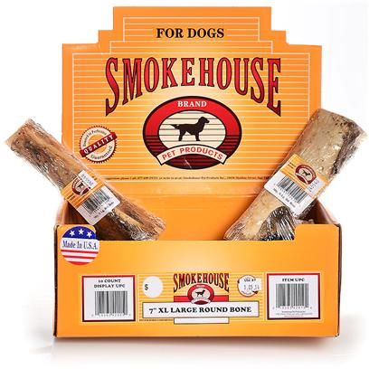 Smokehouse Presents Smokehouse 7' Extra Large (Xl) Round Bones Shelf Display Box 10ct Small (Sm) Rnd Bne Sw Disp. Each Bone is Shrink Wrapped and Upc Labeled Stylish Cardboard Display can Fit on Counter or Shelf or in Smokehouse Wire Rack #20000 100% Natural Smoked Beef Product Great Treat for your Dog that Provides Hours of Fun. Great for Keeping Teeth Clean and Healthy. Made in the Usa Supplemental Treat [26061]