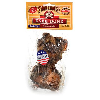Smokehouse Presents Smokehouse Knee Bone Small 2pk (Sm). Small in Clear Vinyl Bag with Header 100% Natural, Beef Knee Bone Slow Roasted to Perfection. Meat and Cartilage is Left on the Bone for Dog to Enjoy. Great for Keeping Teeth Clean and Healthy. Made in the Usa in U.S.D.A. Inspected Meat Plants. [26063]