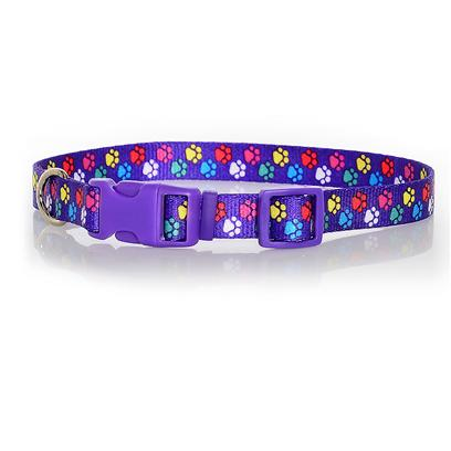 Pet Attire Paw Pattern Adjustable Nylon Collar