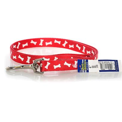 Coastal Presents Nylon Bone Pattern Lead-Red C Nyl Ptrn Lead 3/4x4ft Redbon. Suitable for Use when Walking Small Dogs, this Fashionable 5/8&quot; X 6' Pet Attire Lead Features a Charming &quot;Red Bones&quot; Design and Looks Great with a Matching Collar! Silky, Smooth and Comfortable, this Vibrant, Colorfast Lead is Printed on Both Sides and Features a Generous Handle Section and Sturdy Metal Bolt Snap. 5/8&quot; X 6' Red Bones [26157]