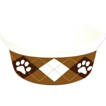 Petmate Presents Designer 24oz (3cup) Bowl Argyle (3 Cup). Petmate's Designer Bowls are Designed to Meet the Needs of the Fashion Forward, Trend Oriented Pet Owner. The Line Includes a Variety of Styles, Shapes, and Sizes for Cats and Dogs. These Bowls are Dishwasher Safe and will not Fade. They Resist Scratches and Nicks that can Trap Bacteria. Some Models Feature Finger Cut-Outs on Both Sides 24 Oz 3 Cup [26363]