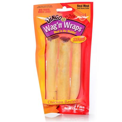Dingo Brand Presents Dingo Wag'n Wraps Slims Chicken 3 Pack. Dingo Wag'n Wraps Slims are a Premium Rawhide Wrapped Around a Chewy Center that is Made with Real Meat. They are Delicious Treats Dogs Love to Eat. [26506]