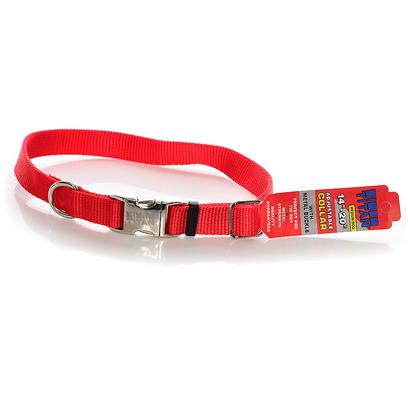 Coastal Presents Nylon Adjustable Spectra Collar with Metal Buckle 3/4' - Red. All Metal Construction for Superior Strength. Perfect for Tie Out. Convenient, Side Release Buckle. Will not Rust. [26675]