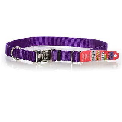 Coastal Presents Titan Adjustable Nylon Collar with Metal Buckle 1' - Purple. All Metal Construction for Superior Strength. Perfect for Tie Out. Convenient, Side Release Buckle. Will not Rust. [26677]