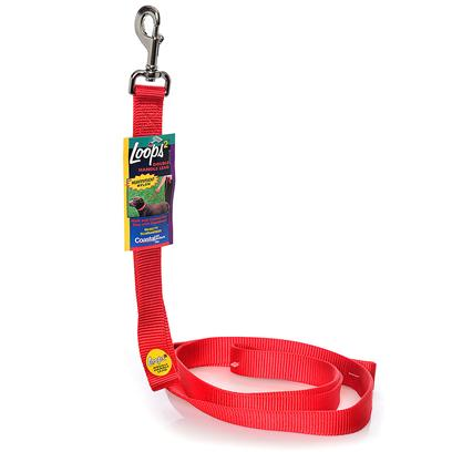 Coastal Presents Nylon Loops 2, 2-Handle Lead-Red 1' X 4ft. This Lead is Constructed with a 1&quot; Single Ply Web and Features a Second Handle Positioned Close to the Dog's Collar. The Second Handle Eliminates the Need to Wrap the Leash Around your Hand to Shorten the Lead. Coastal's High Quality Nylon is Specially Processed to Prevent Fraying and Increase the Strength. [26705]