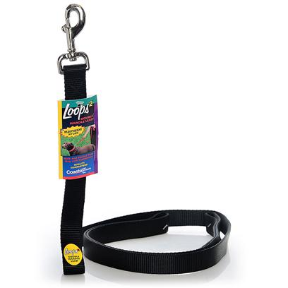 Coastal Presents Loops 2 Double Handle Lead-Black 6 Feet. This Lead is Constructed with a 1&quot; Single Ply Web and Features a Second Handle Positioned Close to the Dog's Collar. The Second Handle Eliminates the Need to Wrap the Leash Around your Hand to Shorten the Lead. Coastal's High Quality Nylon is Specially Processed to Prevent Fraying and Increase the Strength. [26714]