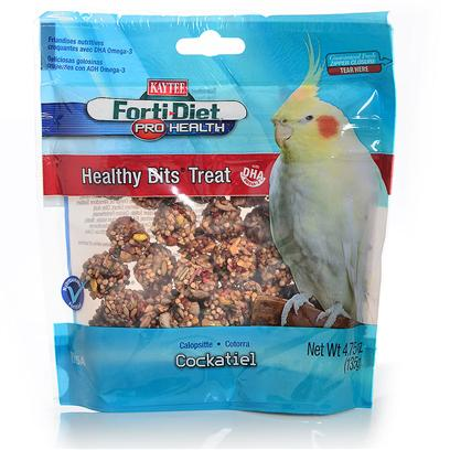 Kaytee Presents Forti Diet Pro Health Canary Healthy Bit Cockatiel 4.75oz. Kaytee Forti-Diet Pro Health Healthy Bits Provide a Crunchy, Fun-to-Eat Treat for your Pet. Healthy Bits are Made with Nuts, Fruit, Seeds and a Touch of Honey, all Packed into a Perfect Size Morsel to Offer by Hand or in a Treat Dish. Kaytee Added Dha Omega-3 to Support Heart, Brain and Visual Functions and Natural Prebiotics and Probiotics to Aid in the Digestive Health of your Pet. 4.75 Oz [26791]