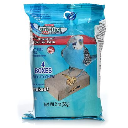 Kaytee Presents Forti Diet Pro Health Munchables Box Parakeet 4 Pack. Pets Love to Explore for Food and Shred and Chew their Way to Tasty Treats. Kaytee Forti-Diet Pro Health Munchables Shred-a-Box Provides Four Single Serve, Safe to Chew Boxes with the Ultimate Mix of Nutrition, Mental Stimulation and Fun! Kaytee Added Dha Omega-3 to Support Heart, Brain and Visual Functions and Natural Prebiotics and Probiotics to Aid in the Digestive Health of your Pet. [26797]