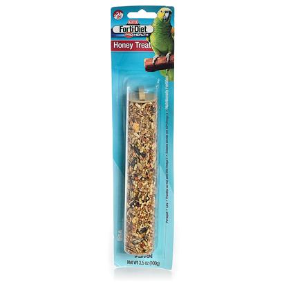 Kaytee Presents Kaytee Forti Diet Pro Health Parrot Honey Stick 7oz. Kaytee Forti-Diet Pro Health Treat Sticks with Dha Omega-3 to Support Heart, Brain and Visual Functions are a Fun-to-Eat Way to Add Nutrition and Activity to your Pet's Diet. Natural Prebiotics and Probiotics are also Added to Promote Digestion. Choose from a Variety of Fresh Tasting Kaytee Treats Made from Fortified, Delicious Ingredients. [26803]