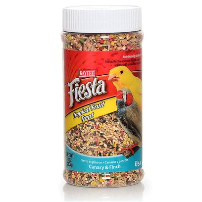 Kaytee Presents Kaytee Fiesta Canary/Finch Tropical Fruit Jar 10oz. Kaytee Fiesta Treats are a Fun Way to Add Variety to your Pet's Diet. Fiesta Treats are a Nutritionally Fortified Blend of Seeds and Carefully Selected Fruits, Nuts and Vegetables. Kaytee Products is Dedicated to the Health and Well Being of your Pet. Feeding Instructions Feed in a Separate Dish or Sprinkle Directly on their Daily Diet. Treats Add Variety and can be Fed Up to 20% of the Total Food Intake. Discard Unused Portion if Soiled. Small Birds 10 Oz [26811]