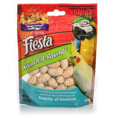 Kaytee Presents Kaytee Fiesta Krunch a Rounds Avian Peanut 2oz. Kaytee Fiesta Krunch-a-Rounds are a Crunchy and Delicious Treat for your Pet. A Peanut Center is Rolled in a Crispy Rice Coating and then Covered with Sesame Seeds. Pets Love the Premium Quality Ingredients from the Experts at Kaytee. Feeding Instructions Treats Add Variety and can be Fed Up to 20% of the Total Food Intake. Discard Unused Portion if Soiled. The Majority of your Pet's Diet should Consist of One of Kaytee's Nutritionally Fortified Diets, Such as Fiesta Max, Forti-Diet Pro Health or Exact Branded Products. For Additional Variety Feed your Pet One of Kaytee's Many Other Treat Products. Not Intended for Human Consumption. All Birds 2 Oz [26820]