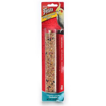 Kaytee Presents Kaytee Fiesta Cockatiel Tropical Fruit Stick 3.75oz. Kaytee Fiesta Treat Sticks are a Fun-to-Eat Way to Add Variety and Activity to your Pet's Diet. Choose from any of the Fresh Tasting Flavors to Provide a Healthy Treat Made from Fortified, Nutritious Ingredients. Kaytee Products is Dedicated to the Health and Well Being of your Pet. Feeding Instructions Place Treat Stick in your Pet's Habitat. For Best Results Alternate Varieties and Limit to 1 Stick Per Animal Per Week. Treats Add Variety and can be Fed Up to 20% of the Total Food Intake. Discard Unused Portion if Soiled. Medium Birds 25 Lb [26834]