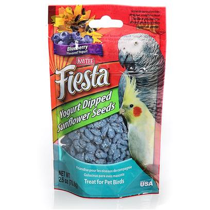 Kaytee Presents Kaytee Fiesta Yo Dips Avian Sunflower/Blueberry 2.5oz. Kaytee Fiesta Yogurt Dipped Fruit Treats Blend Extreme Flavors, Real Fruit Pieces and a Creamy Yogurt Coating for a Colorful Explosion of Taste and Texture! These Dipped Treats are a Wholesome, Healthy Way to Give your Pet a Special Treat. Pets Love the Premium Quality Ingredients from the Experts at Kaytee. All Birds 2.5 Oz [26838]