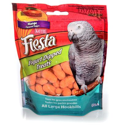 Kaytee Presents Kaytee Fiesta Yogurt Dip Parrot Mango 3.5oz Kt Yog Prt. Kaytee Fiesta Yogurt Dipped Treats are Crunchy Fortified Nuggets with a Smooth, Delicious, Fruit Flavored Yogurt Coating. Yogurt Dipped Treats are a Healthy and Fun Treat for your Pet! Pets Love the Premium Quality Ingredients from the Experts at Kaytee. Feeding Instructions Treats Add Variety and can be Fed Up to 20% of the Total Food Intake. Discard Unused Portion if Soiled. The Majority of your Pet's Diet should Consist of One of Kaytee's Nutritionally Fortified Diets, Such as Fiesta Max, Forti-Diet Pro Health or Exact Branded Products. For Additional Variety Feed your Pet One of Kaytee's Many Other Treat Products. Not Intended for Human Consumption. Large Birds 3.5 Oz [26839]