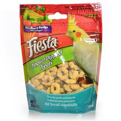 Kaytee Presents Kaytee Fiesta Yogurt Dip Cockatiel Strawberry/Banana 3.5oz. Kaytee Fiesta Tropical Fruit & Yogurt Mix is a Blend of Delicious Dried Tropical Fruits and Crunchy Fortified Nuggets with a Smooth, Creamy, Fruit Flavored Yogurt Coating. This Tropical Combination is a Healthy and Fun Treat for your Pet! Pets Love the Premium Quality Ingredients from the Experts at Kaytee. Feeding Instructions Treats Add Variety and can be Fed Up to 20% of the Total Food Intake. Discard Unused Portion if Soiled. The Majority of your Pet's Diet should Consist of One of Kaytee's Nutritionally Fortified Diets, Such as Fiesta Max, Forti-Diet Pro Health or Exact Branded Products. For Additional Variety Feed your Pet One of Kaytee's Many Other Treat Products. Not Intended for Human Consumption. Medium Birds [26840]