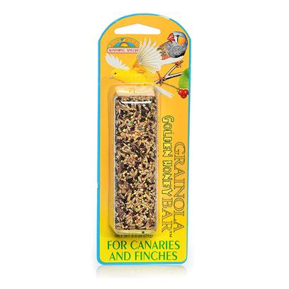 Sun Seed Company Presents Grainola Golden Honey-2.5oz (Canaries & Finches) Canaries Finches. An Appetizing Combination of your Bird's Favorite Seeds Blended with the Flavorful Goodness of Natural Golden Honey. Protein (Min. 12%), Fat (Min. 8%), Fiber (Max. 12%). [26848]
