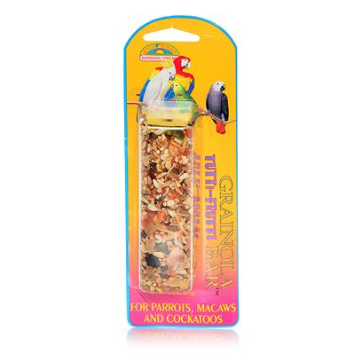 Sun Seed Company Presents Grainola Tutti-Fruitti Fruit Bar 2.5oz (Card) (Parrots Macaws & Cockatooos) Large Parrots Cockatooos. Tropical Fruits, Nuts and Vegetables Combined with Farm Fresh Seeds Make this a Taste Explosion for your Pet. Protein (Min. 13%), Fat (Min. 8%), Fiber (Max. 15%). [26849]