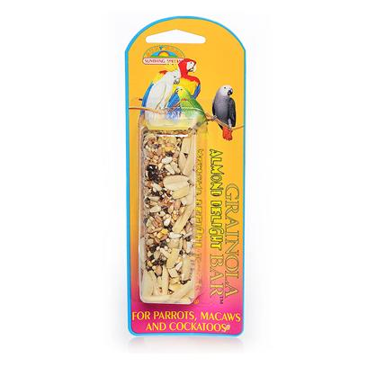 Buy Grainola Almond Delight Bar for Birds products including Grainola Almond Delight Bar 2.5oz (Card) Large Parrots Macaws &amp; Cockatooos, Grainola Papaya Almond Bar 2.5oz (Card) Sun Small (Sm) Hook Category:Treats Price: from $1.99