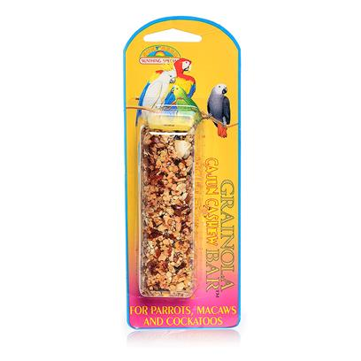 Sun Seed Company Presents Grainola Cajun Cashew Bar 2.5oz (Card) (Parrots Macaws &amp; Cockatooos) Large Parrots Cockatooos. Arrrriiiiba! Red Hot Peppers and the Great Taste of Cashews are Sure to Spice Up Treat Time! Protein (Min. 13%), Fat (Min. 8%), Fiber (Max. 15%). [26851]