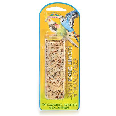 Sun Seed Company Presents Grainola Coconut Crunch Bar 2.5oz (Card) (Cockatiels Parakeet &amp; Lovebirds) Small Cockatiels Lovebirds. Almonds and Coconut Mixed Together to Create a Taste Sensation that your Bird will Love. Protein (Min. 12%), Fat (Min. 7%), Fiber (Max. 15%). [26853]