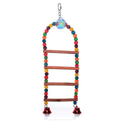"North American Pet Presents Natural Parrot Wood Ladder with Beads 28'. A Unique Ladder with Toys Built Right In! These Ladders are Made with Natural Wood, and Feel Great on Birds Feet. The Beads and Bells are an Added Bonus to Keep your Bird Active. Just Hang it from your Cage with the Included ""D"" Ring, and your Done. All Components are Safe for Birds. Item Dimensions 7""X28""X.8"" [26877]"