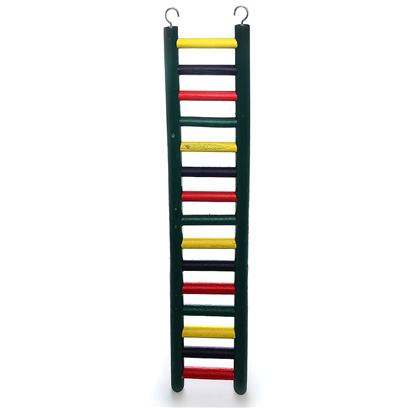 "Prevue Presents Ph Heavy Duty Hardwood Ladder Wood 11-Rung 18' Hd. Carpenter Creations 24"" Heavy Duty Ladder for Large Birds, this Ladder is Constructed of Solid Hardwood with a "" Diameter Dowel. Includes Top Hooks for Hanging and is Colored in Assorted 100% Safe Fd&C Colors. 24"" Long, 6""Wide [26889]"