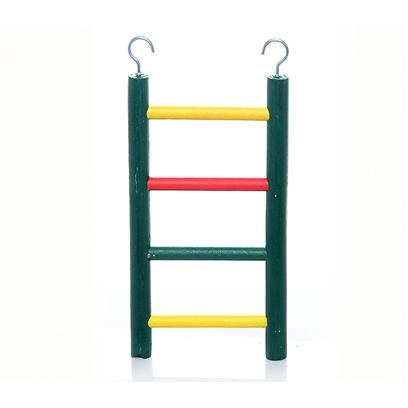 "Prevue Presents Ph Hardwood Ladders Wood Ladder 4-Rung 8'. Carpenter Creations 18"" Wood Ladder with 9 Rungs, Assorted Colors that are 100% Fd & C Safe, Top Hooks Included for Hanging in Cage, Quality Heavy Duty Construction. 18"" Long, 4"" Wide [26893]"