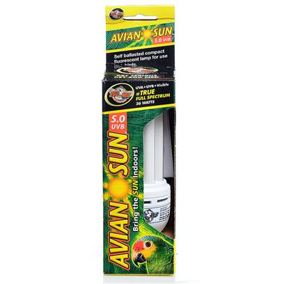 Zoo Med Laboratories Presents Avian Sun 5.0 Uvb Compact Fluorescent Deluxe Lamp. Special Uva and Uvb Compact Fluorescent Lamp for Use with all Captive Birds. Uvb Allows Birds to Synthesize Vitamin D3 in their Skin. Uva Helps Bird's Curb Feather Picking and Other Destructive Behaviors. Without Uva Birds are Colorblind! [26914]
