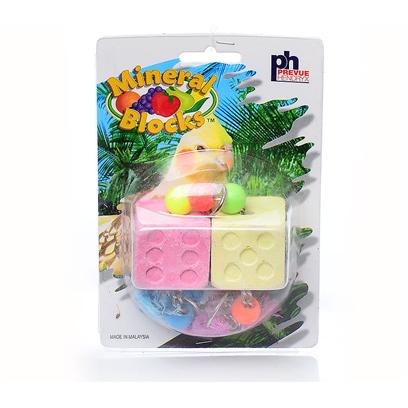 Prevue Presents Mineral Block Dice Toy. Formulated to Help Supply Essential Nutrients Found in a Bird's Natural Surroundings. Contains Calcium Ionized Salt and Egg Shell, Added Toys for Fun and Exercise. [26928]