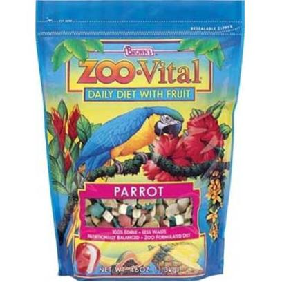 Fm Browns Presents Zoo Vital Lrg Parrot Pelleted Diet 46oz 6pc Brown Vit Large (Lg) Parrt. Zoo Vital Daily Diet with Fruit is the New Generation of 100% Edible Foods with Less Waste have the Same Professional Qualities as the Foods Used in Zoos. Plus, We've Added Enticing Real Fruit. We Believe it's the Better, Healthier Choice for your Bird. 46 Oz [26934]
