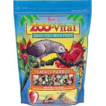 Fm Browns Presents Zoo Vital Small Parrot Pelleted Diet 46oz Pouch (6pc) Brown Vit (Sm) 6pc. Zoo Vital Daily Diet with Fruit is the New Generation of 100% Edible Foods with Less Waste have the Same Professional Qualities as the Foods Used in Zoos. Plus, We've Added Enticing Real Fruit. We Believe it's the Better, Healthier Choice for your Bird. 46 Oz [26937]