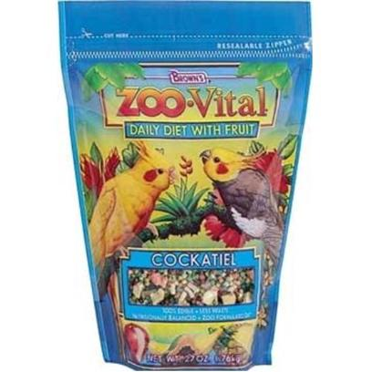 Fm Browns Presents Zoo Vital Cockatiel Pelleted Diet 27oz Pch(6pc) Brown Vit Tiel 6pc. Zoo Vital Daily Diet with Fruit is the New Generation of 100% Edible Foods with Less Waste have the Same Professional Qualities as the Foods Used in Zoos. Plus, We've Added Enticing Real Fruit. We Believe it's the Better, Healthier Choice for your Bird. 27 Oz [26938]