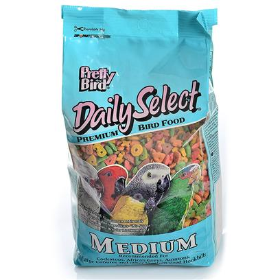 Pretty Bird International Presents Daily Select-Medium Size Birds 3lb Bag. Our Original Multicolored, Multi-Shaped, Extruded Bird Food Containing 14% Protein and 5% Fat. Sized for African Greys, Amazons, Small and Medium Cockatoos, Larger Conures, Small Macaws and Similar Sized Birds. Packaged in 3 Lb. Bags Manufactured 6 Per Case [26977]