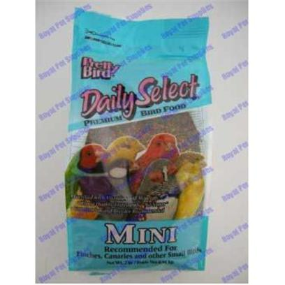 Pretty Bird International Presents Daily Select-Mini Size Birds (Canaries & Other Small Birds) 5lb Bag. Our Original Multicolored, Multi-Shaped, Extruded Bird Food Containing 14% Protein and 5% Fat. Sized for Canaries and Finches. Packaged in 5 Lb. Bags Manufactured 6 Per Case [26979]